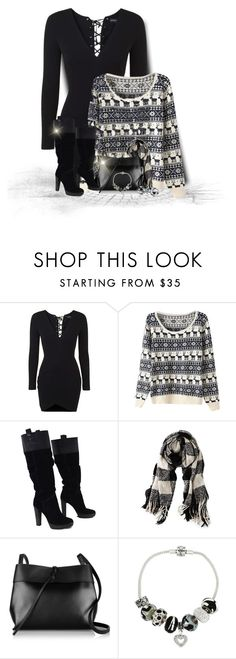 """""""Christmas Sweater & Dress"""" by majezy ❤ liked on Polyvore featuring Topshop, BCBGMAXAZRIA, American Eagle Outfitters, Kara, Link Up and Bling Jewelry"""