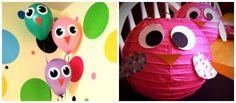 Balões em decoração de festa tema Corujas