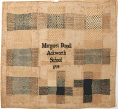 sweetpeapath: Margaret Boxall's darning sampler, 1799 (c) Ackworth School Estates Make Do And Mend, Embroidery Sampler, Cross Stitch Love, Contemporary Embroidery, Tatting Lace, Darning, Textile Artists, Textile Patterns, Needle And Thread