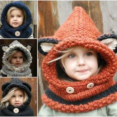 Wonderful DIY Cute Knitted Hooded Cowls......these are kid sized, but I need one of these for me!