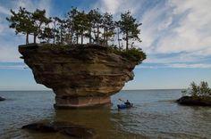 Michigan shore in Lake Huron is Turnip Rock