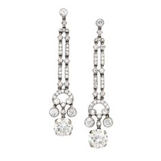 MARZO A Pair of Art Deco Diamond Ear Pendants   From a unique collection of vintage drop earrings at https://www.1stdibs.com/jewelry/earrings/drop-earrings/