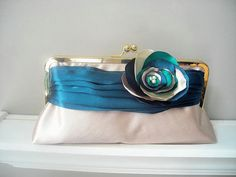 Modern Bride - Peacock Satin Bridal Clutch -This would have matched my wedding colours perfectly!