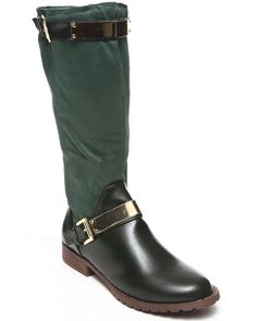 DrJays.com - Detailed Images of Jodie Vegan Leather Faux Suede Riding Boot w/ Buckle by Fashion Lab