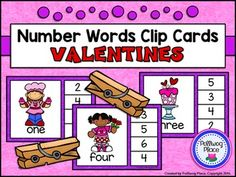 Number Words Clip Cards: Valentine's Day {Numbers 1-20} ($)