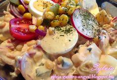 Majonézes húsvéti saláta Healthy Food Options, Healthy Recipes, Cheeseburger Chowder, Salad Recipes, Potato Salad, Salads, Low Carb, Eggs, Breakfast