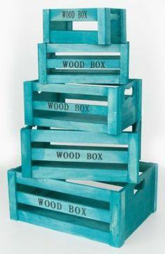 """Aufbewahrungsbox """"Vintage"""" Holzkisten 5er Set türkis Holzboxen Holzkiste Dekokiste Deko Weinkiste Box Kiste Kisten Boxen Aufbewahrung Regal"""