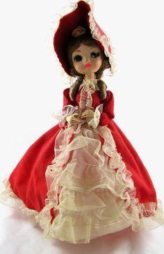 Revolving Music Player Sankyo Japan Big Eye Bradley Doll Red Hoop Dress   eBay