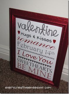 Valentine Printable, love the glitter frame