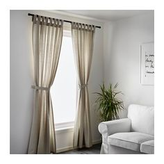 IKEA - LENDA, Curtains with tie-backs, 1 pair, , The curtains lower the general light level and provide privacy by preventing people outside from seeing directly into the room.The tab heading allows you to hang the curtains directly on a curtain rod. Ikea Curtains, No Sew Curtains, Drop Cloth Curtains, Green Curtains, Curtains Living, Rustic Curtains, Velvet Curtains, White Curtains, Hanging Curtains
