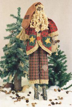 Cloth Doll Pattern  24in Black Folk Art Santa by FruitfullHands, $8.00