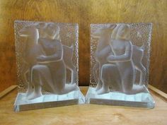 Verlys Glass Bookends girl with deer Carl by WhitebirdArtiques