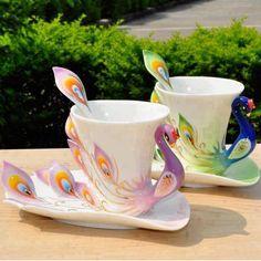 Peacock mug & saucer.