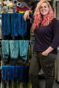 Sarah with dyed yarn hanging to dry Studio, Blog, Blogging, Study