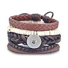 Shades of Brown Multi-Layered Gypsy Snap Bracelet