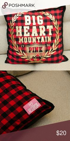 PINK Pillow - Victoria Secret Big Heart Mountain Black/Red Plaid pillow with round rhinestones Victoria's Secret Other