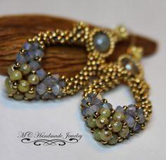 Blue, green and bronze beaded earrings.