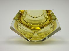 Murano sommerso yellow faceted glass bowl