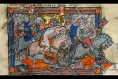 The Rochefoucauld Grail, in French, illuminated manuscript on vellum, c.1315-23. King Arthur fighting the saxons