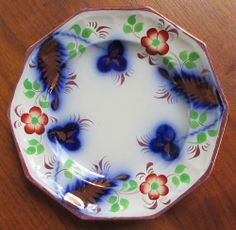 FLOW BLUE COPPER LUSTER STAFFORDSHIRE GAUDY WELSH IRONSTONE 10 SIDED PLATE