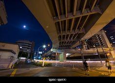 Shinjuku Exit of Metropolitan Expressway and the Full Moon by Takahiro Yamamoto