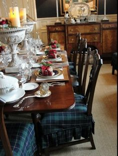 make tartan covers for chairs at Christmas Ciao Domenica: A Welcoming Kind of House