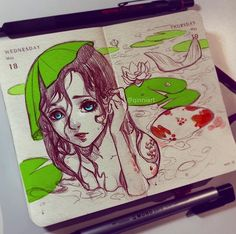 @Qinniart Art Drawings Sketches, Cool Drawings, Pretty Art, Cute Art, Qinni, Art Calendar, Art Prompts, Cartoon Art, Art Inspo