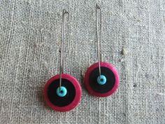 Earrings / Øreringe. Pink, blue and black dangle earrings made of steel,coconut, bakelite and gemstone. www.bulowssmykker55.amioamio.com