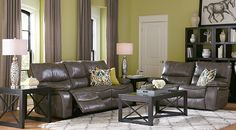 Cindy Crawford Home Gianna Gray Leather 3 Pc Living Room-Reclining Living Rooms (Gray)