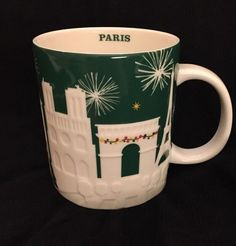 Starbucks Paris Relief Mug Green France Christmas Eiffel Tower Louvre Coffee Cup #Starbucks