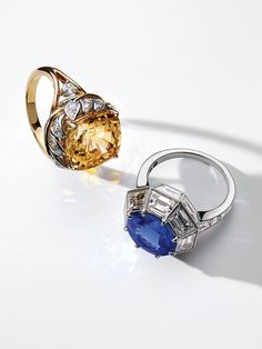Tiffany & Co. Schlumberger® Leaf Wrap ring in platinum and 18k gold with an unenhanced yellow sapphire and ring in platinum with a tanzanite and diamonds.