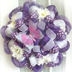 Spring Deco Mesh Wreath with Mesh Ribbon