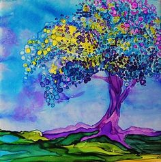 Alcohol Ink Painting - Grounded - A 234 by Catherine Van Der Woerd