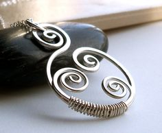 Sterling Silver Wire Wrapped Artisan Spiral Pendant by dianedesign, $38.00