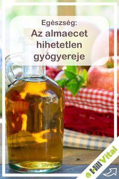 Mi az az almaecet?  Az almaecet hatékony baktériumölő szer, amely számos létfontosságú ásványi anyagot és nyomelemeket tartalmaz, mint a kálium, kalcium, magnézium, foszfor, klór, nátrium, kén, réz, vas, szilícium és fluor, amelyek létfontosságúak a test egészséges müködéséhez. A természetes almaecet készitésének folyamata friss, organikusan termesztett almák összezúzásával kezdődik, amelyet aztán fahordóban való érlelés követ. Whiskey Bottle, The Cure, Food And Drink, Medical, Personal Care, Drinks, Health, Paleo, Drinking