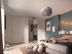 Chambre adulte : des portes battantes discrètes qui se font oublier dans cette ambiance chaleureuse. Divider, Room, Furniture, Home Decor, Bright Rooms, Swinging Doors, Snug Room, Bedroom, Decoration Home
