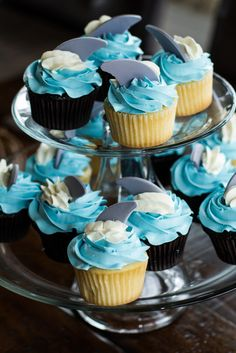 Project Nursery - Cupcakes with Shark Fin Toppers - Project Nursery