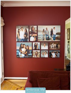 Canvas collage. I've been looking for a way to use family pictures. I really like this idea.