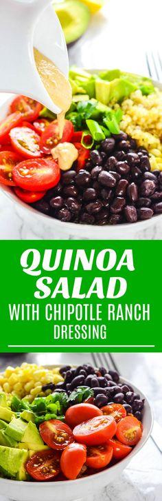Quinoa Salad with Chipotle Ranch Dressing #oilfree #vegan #plantbased #wholefoodplantbased #glutenfree #quinoarecipes #blackbean #salad #weightlossrecipes #weightwatchers