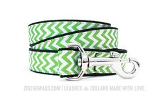 "The Grass Green Signature Leash is available in two widths – 1"" for larger dogs, and 3/8"" for small and toy breeds. Both versions are 6' long, and feature a looped handle and a heavy-duty nickel-plated swivel clip for secure leash attachment."