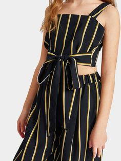 To find out about the Girls Tie Waist Striped Crop Top & Wide Leg Pants Set at SHEIN, part of our latest Girls Two-piece Outfits ready to shop online today! Kids Outfits Girls, Girl Outfits, Girls Dresses, Fashion Outfits, Baby Girl Dress Patterns, Striped Crop Top, Outfit Sets, Wide Leg Pants, Ideias Fashion