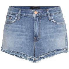 J Brand Sachi Mid-Rise Denim Shorts (€135) ❤ liked on Polyvore featuring shorts, bottoms, short, blue, short shorts, blue shorts, blue denim shorts, mid rise shorts and blue jean short shorts