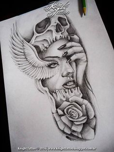 #sketch #dark #skull #woman #wing #knighttattoo