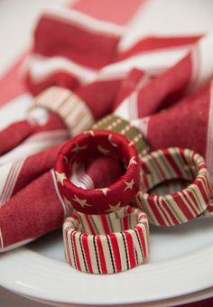 Upcycle pieces of plastic pipe into decorative napkin rings