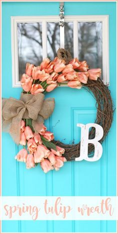 Spring Tulip Wreath how-to diy tutorial - I LOVE this one and these perfect flowers for front door decor - - Sugar Bee Crafts (holiday door wreaths how to make) Diy Gifts For Christmas, Holiday Crafts, Diy Spring Wreath, Spring Crafts, Spring Door Wreaths, Wreaths For Front Door, Wreath Crafts, Diy Wreath, Wreath Ideas