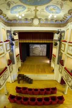 @SmallestTheater in Monte Castello di Vibio (Umbria)   www.teatropiccolo.it  only 99 places   Plenty of shows take place each year: prose, opera, classical and jazz concerts. It is also available for meetings and civil weddings, and can be visited on Saturdays and Sundays