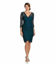 Adrianna Papell LaceSleeve Shirred Dress #Dillards