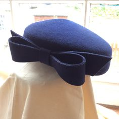 60s vintage navy pillbox felt hat with bow. by coolclobber on Etsy