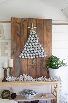 Pretty DIY Project and Ornament Display in a seaside shed