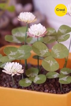 🌼 Creative paper crafts potted plants with clover and flowers, decorate your home! Cool Paper Crafts, Paper Flowers Craft, Paper Crafts Origami, Crepe Paper Flowers, Diy Arts And Crafts, Flower Crafts, Diy Flowers, Diy Paper, Paper Art